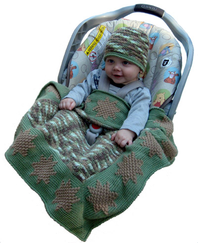 Camouflage Afghans Car Seat Cover Baby Hat Crochet Patterns